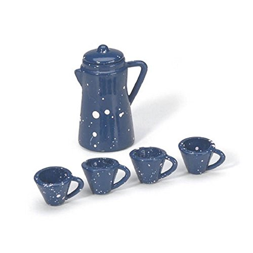 Miniature - Coffee Pot with Cups - Blue - 7/8 inch - 1 set