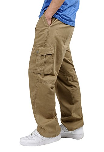 ChicNChic Men's Multi Pockets Relaxed Lightweight Workwear Chef Cargo Pants Yellow L (Cotton Chef Pants compare prices)