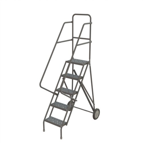 Tri-Arc KDSR110246-D2 10-Step 20 Deep Top Steel Rolling Industrial /& Warehouse Ladder with Handrails 24 Wide Perforated Tread