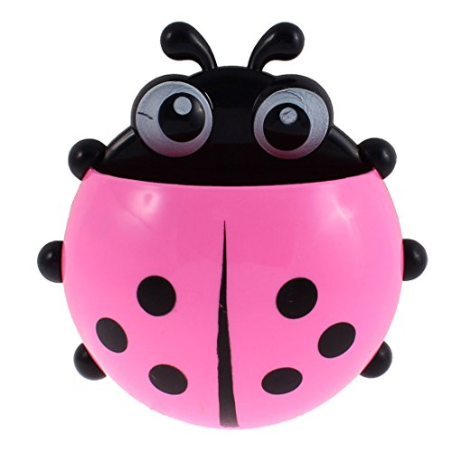 uxcell Plastic Ladybird Design Household Suction Cup Toothbrush Holder Pink