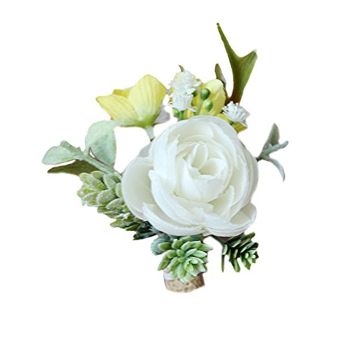USIX 2pc Pack-Handmade Men's Lapel Satin Camellia Boutonniere Pin for Suit Wedding Groom Groomsmen Brooch Rose Boutonniere(White Yellow)