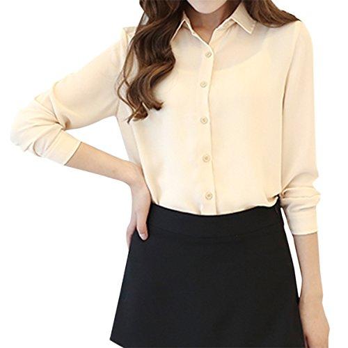c4c7a4462c9 Cekaso Women s Button Up Shirts Solid Collared Sheer Long Sleeve Chiffon  Blouse