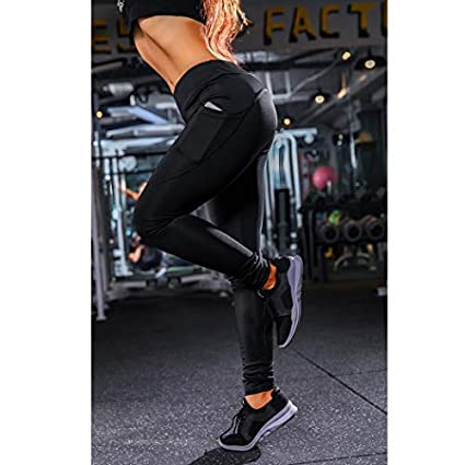1f3c04c4749185 GuGio Women's Casual Solid High Waist Sports Fitness Leggings Yoga Skinny  Trousers with Pockets