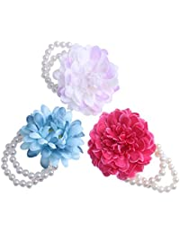 3pcs Kids Childs Little Girl Princess Fairy Pearl Flower Bracelets Armband
