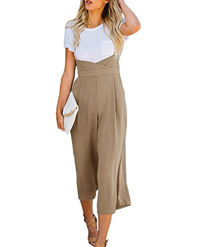 Imysty Womens Spaghetti Strap Jumpsuits Wide Leg Backless Overall Romper Pants with Pockets Khaki