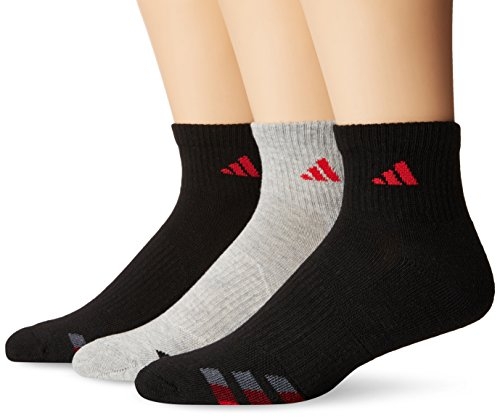 (adidas Men's Cushioned Quarter Socks (3 Pack), Black/Heather Grey/Ray Red/Collegiate Burgundy/Onix, Large fits shoe size 6-12)