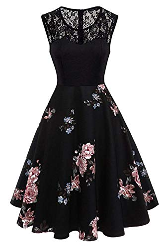 Yoyoma Women's Print Round Neck Sleeveless A-Line Pleated Patchwork Summer Party Dress Elegant Midi Dresses with Floral Lace