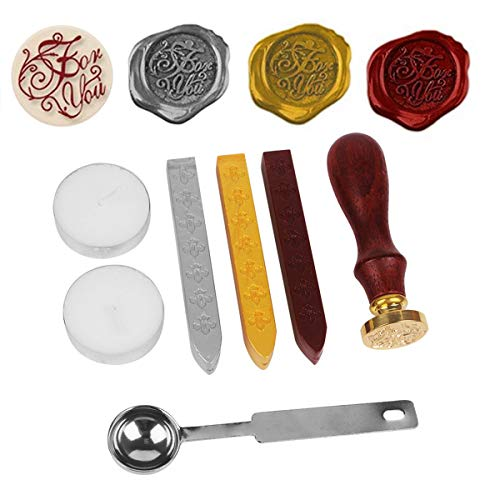 NetBoat Wax Seal Stamp Kit For You Antique Alphabet Wax Sealing Stamps Set for Vintage Letter Envelope with Gold Red Silver Sticks ()