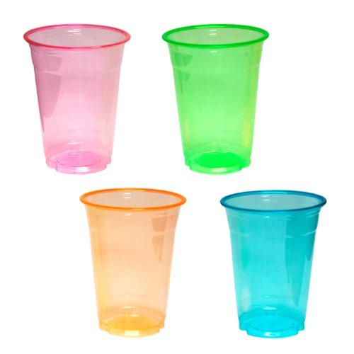 Party Essentials Soft Plastic 16-Ounce Party Cups/Pint Glasses, 40-Count, Assorted Neon -
