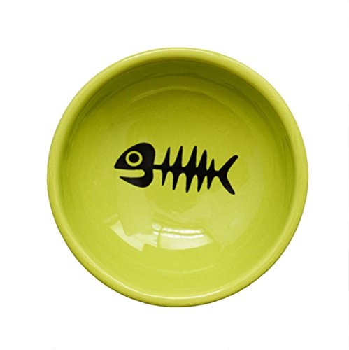 Gomass-Pet-supplies-Fishbone-Grain-Tripods-Cat-and-Dog-Bowl-Ceramic-Bowl-Feeder-green