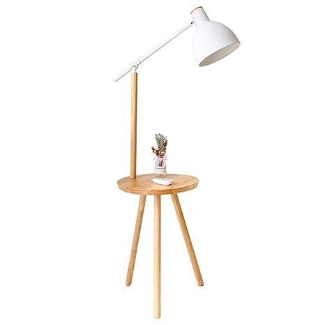 Lámpara de pie - Repisa Botón de Madera Maciza + Control ...