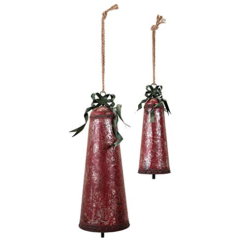Benzara Homestead Christmas Oversized Bells-Set of 2-Red Home Accent by Benzara