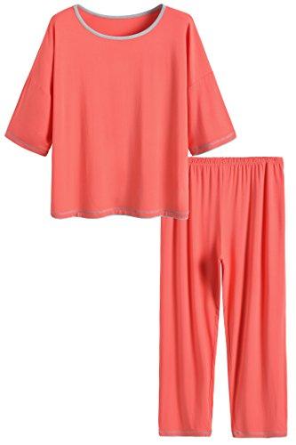 Latuza Women's 3/4 Sleeve Scoop Neck Pajama Set M Coral