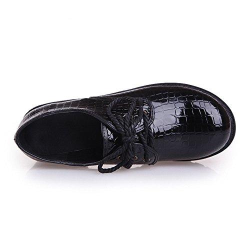 BalaMasa Heels Womens Square Bandage Oxfords Leather Black Platform Patent Shoes rqAEqw