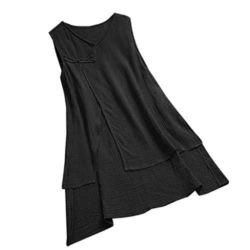IAMUP Women Vintage V Neck T Shirts Pure Color Linen Sleeveless Tops Camis Vest Tank Tops Blouse Black