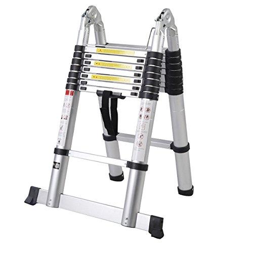 ALightUp Multi Purpose 16.5ft Aluminum Telescoping Ladder, Extendable Telescoping Ladder, Non-slip Ribbing 330 Pound Capacity