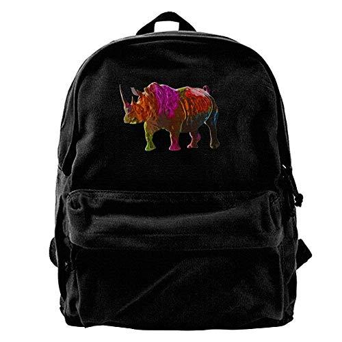 Classic Shoulder Canvas Backpack Bag Men's Sd4r5y3hg Blcak Colorful Rhinoceros Book n6PXI6xt