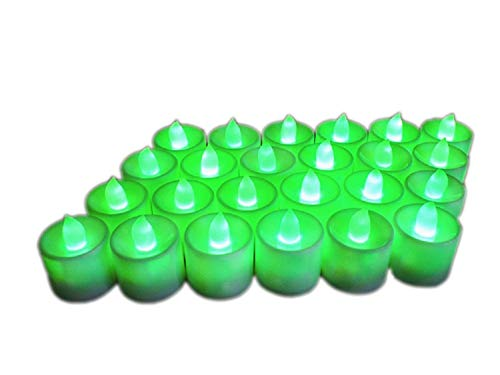 24Pcs Electric LED Tealight Bright Mood Candle Realistic Battery Operated Tealight for Wedding Party Confession Festival Decoration Fake Candle (Green)