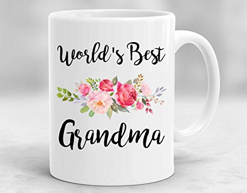 InterestPrint Mother's Day Gifts World's Best Grandma White Ceramic Coffee Mugs Office Tea Cups - Floral Design - 11oz Best Birthday or Christmas Gift Idea for Grandma Nana Grammy Mimi
