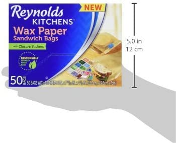 50 Count Kitchens Wax Paper Sandwich Bags 6x7-13//16 Inch