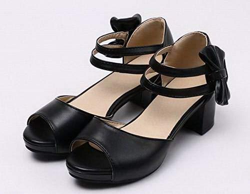 Correct Sandales Femme PU à Unie Velcro AgooLar Cuir Couleur Noir GMBLA015305 Talon H8TFTzn
