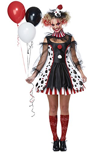 California Costumes Women's Twisted Clown Adult Woman Costume, Black/White/red, Extra Small -