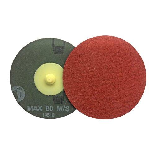 VSM 3' Quick Change Resin Fiber Disc, 80 Grit, XF885 Ceramic+, Quick Change Type R, Fiber Backing, Pack of 25 VSM Abrasives Co. 150182