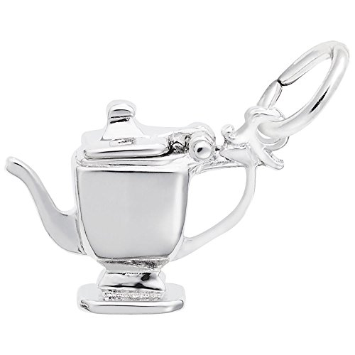 Teapot Charm In Sterling Silver, Charms for Bracelets and Necklaces (Charm Sterling Silver Teapot)