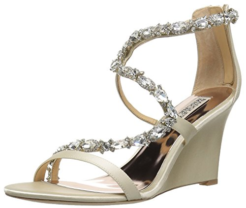 Badgley Mischka Women's Simona Wedge Sandal, Ivory, 7.5 M US