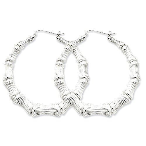 (Sterling Silver Bamboo Hoop Earrings (1.73 in x 1.69 in))