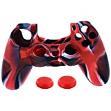 GreatestPAK 1PC Camouflage Silicone Case Cover + 2PC Rocker Cap For Playstation PS4 Controller Valentine's Day Gift (Red)
