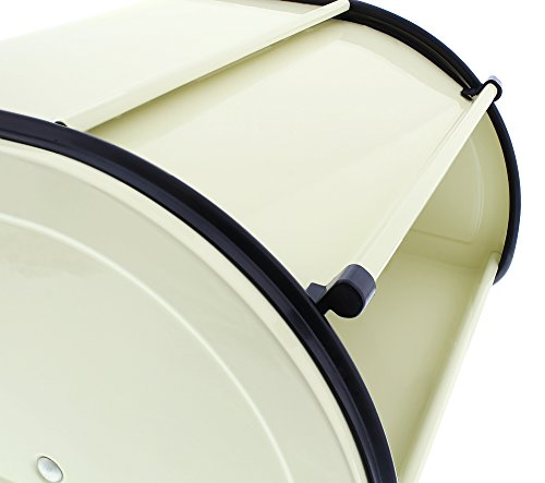 Juvale Bread Box For Kitchen Counter - Stainless Steel Bread Bin Storage Container with Roll Top Lid for Loaves, Pastries, and More - Retro/Vintage Inspired Design, Cream, 10 x 8.5 x 5.5 Inches by Juvale (Image #4)