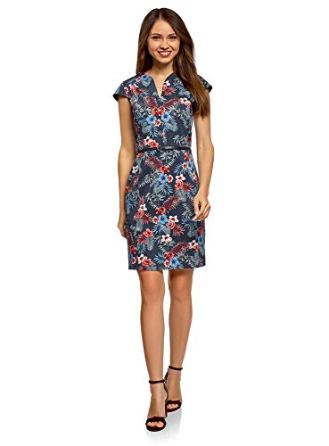 oodji Collection Women's Belted Pencil Dress, Blue, -