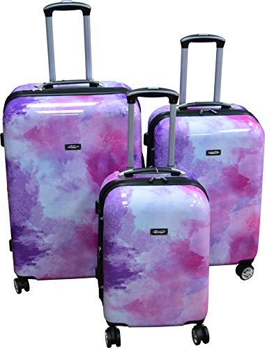 (Kemyer 788 Vintage World Series Lightweight 3-PC Expandable Hardside Spinner Luggage Set (Marble))