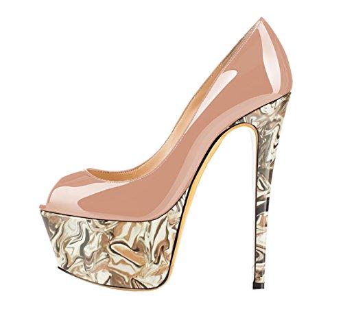 Guoar - Zapatos con tacón Mujer Bunt und Natural