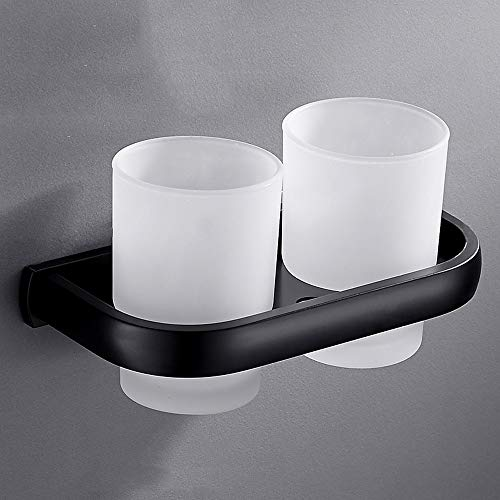 Rishx-bathroom Toothbrush Holder Frosted Glass Double Mouthwash Cups Matte Black Wall Mount Toilet Accessories