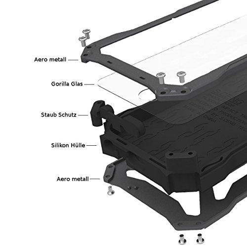 FINOO | Extreme Outdoor Handy Hülle für Iphone 5/5S mit Aluminium Legierung | Stoßfestes robustes Metall Armor Case Cover | Panzer Hülle mit Gorilla Glas | Farbe schwarz