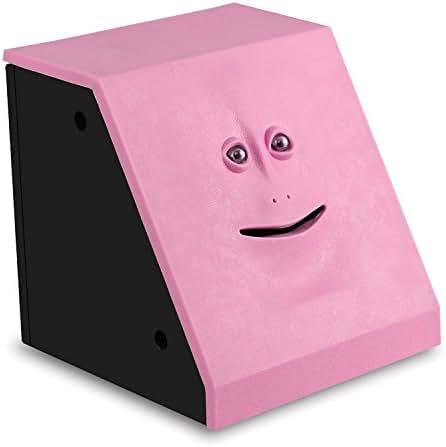 HSTYAIG Face Coin Bank Money Eating Coin Bank Battery Powered Monkey Saving Box (Pink)