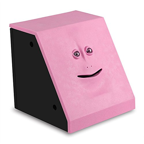 HSTYAIG Face Coin Bank Money Eating Coin Bank Battery Powered Monkey Saving Box (Pink) (Face Happy Bank)