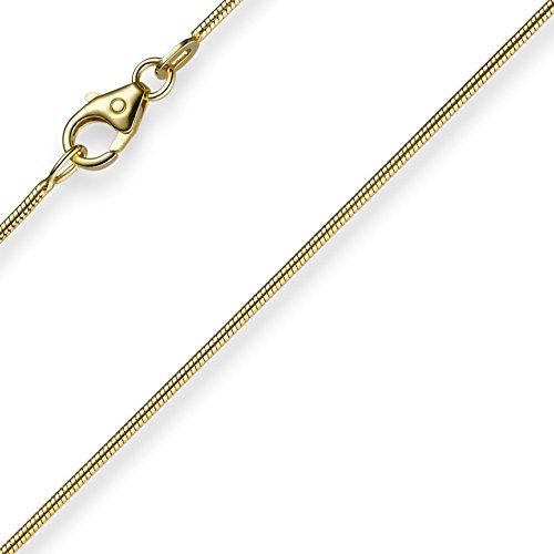 1mm Chaîne serpent Collier de collier bijoux or jaune 33345cm