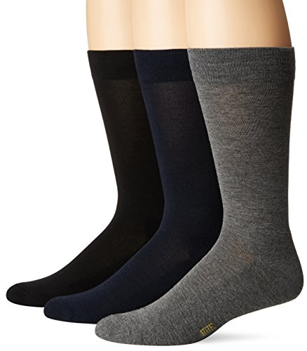Hue Cotton Dress Socks (Hue Men's Solid Sock with Half Cushion, 3 Pair Pack, Black/Dark Graphite/Navy, Sock Size:10-13/Shoe Size: 6-12)