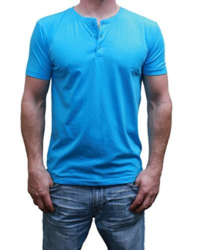 Henley Mens  Short Sleeve TShirt with 3 Buttons, Aqua Heather, Large by MTL Apparel