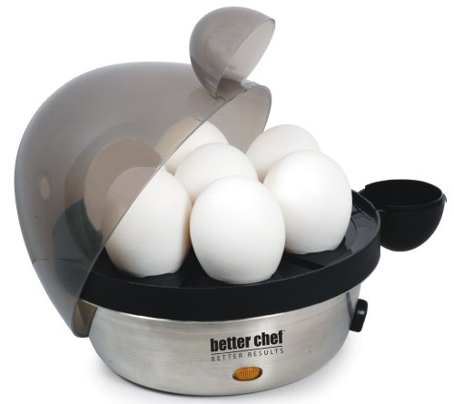Better Chef IM-470S Stainless Steel Electric Egg Cooker | Boil up to 7 Eggs in a Matter of Minutes | Removable Cool Touch Tray | Durable Stainless Steel Base | See-Through Lid ()
