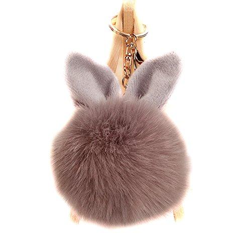 URSFUR Artificial Rabbit Fur Ball Keychain Ear Pom Key Chain Ring Car Bag Charm Pendant Phone Tassel Keyring Hook Toy