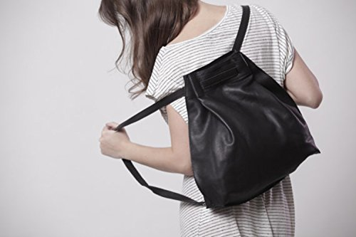 Handmade Artisan Casual Everyday Small Fashionable Genuine Black Leather DayPack Rucksack by Lady Bird Bags