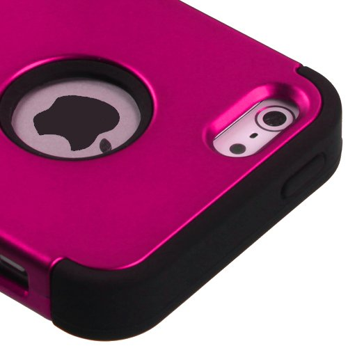 Kaleidio TM Mybat TUFF Armor Hybrid Case Cover for Apple iPhone 5 / 5s - Pink/Black (Package Includes a Overbrawn Prying Tool & Stylux Stylus/Pen Dust Plug Combo) - Retail Packaging