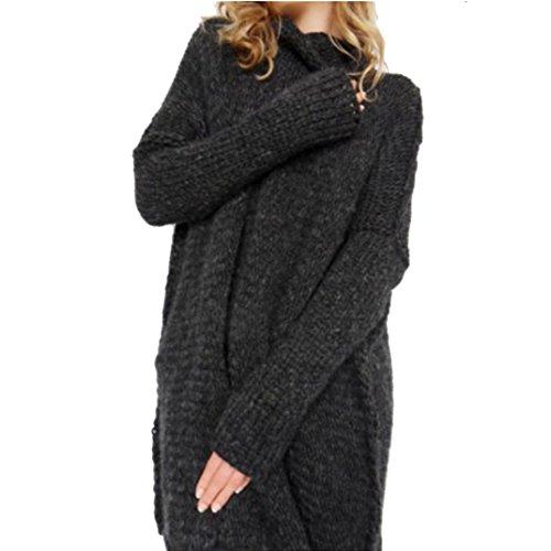 Fheaven Women Loose Long Sleeve Fall Winter Oversize Sweater Jumper Shirt Tops (M, BLack)