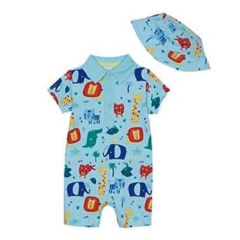82d9e199f Baby Boys  Light Blue Animal Print Romper Suit and Sun Hat Set 6-9 ...