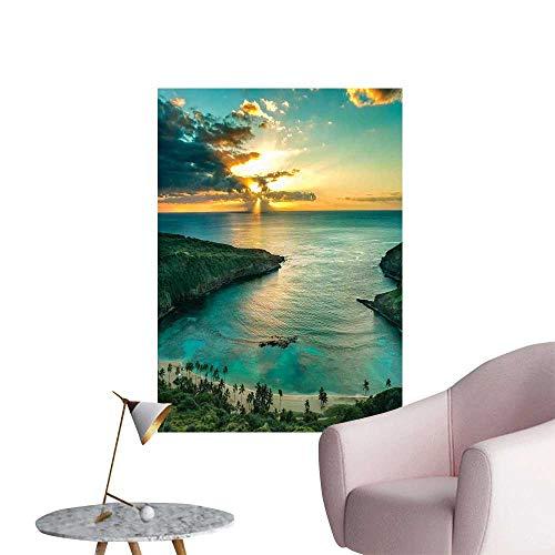 Wall Stickers for Living Room Hanauma Oahu Hawaii Sunbeams Clouds Shoreline Vinyl Wall Stickers Print,12