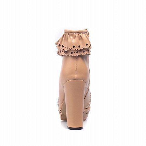 Charm Foot Womens Sweet Lolita Platform Chunky Tacco Stivaletti Albicocca
